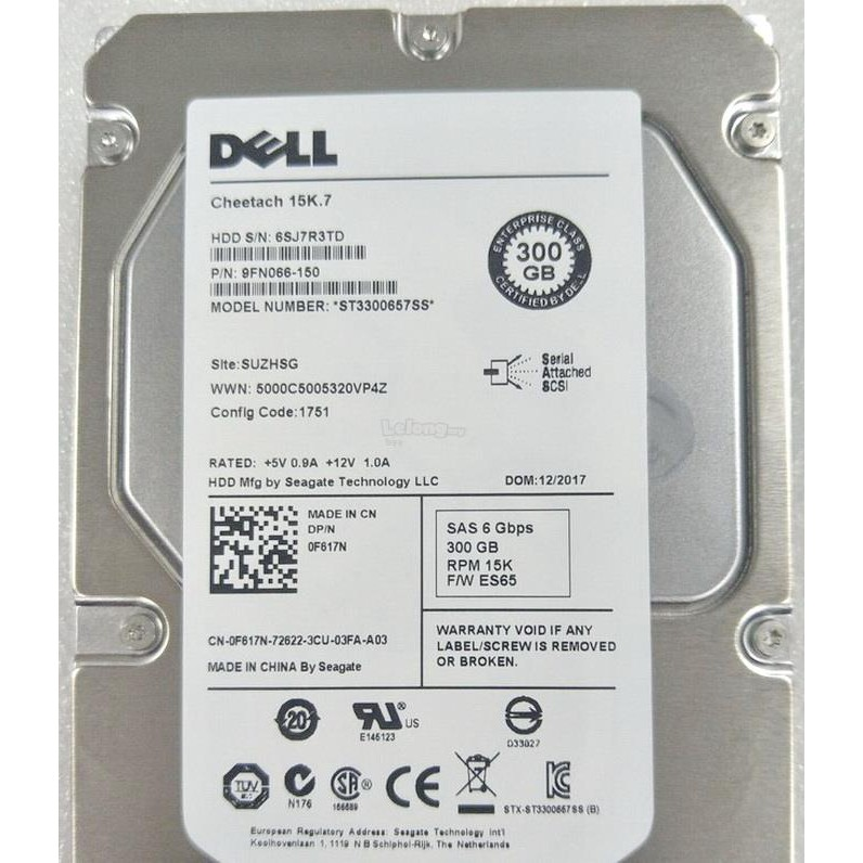 DELL 300GB 15K SAS 6Gbp/s 3 5 INCH HDD WITH CADDY 0F617N ST3300657SS