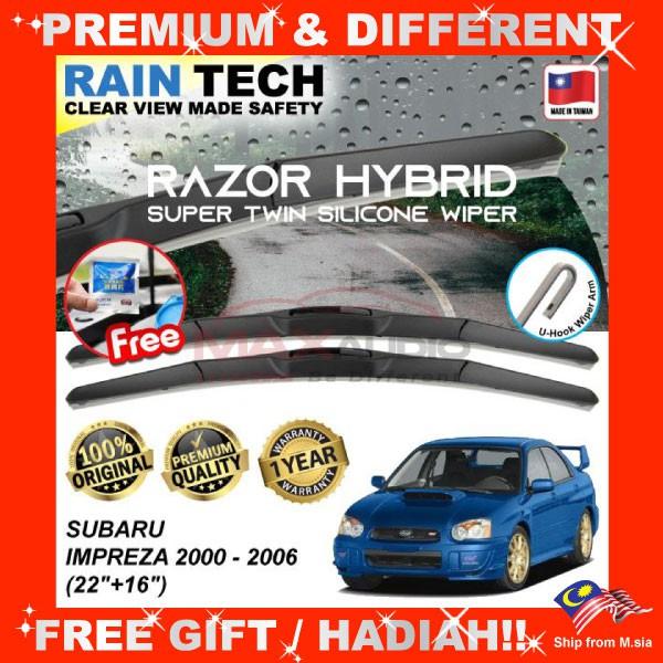 [FREE Gift] SUBARU IMPREZA 2000 - 2006 (22/16) RAIN-TECH RAZOR HYBRID Silicone Aerodynamic Clean Wipe Safety Wiper Blade