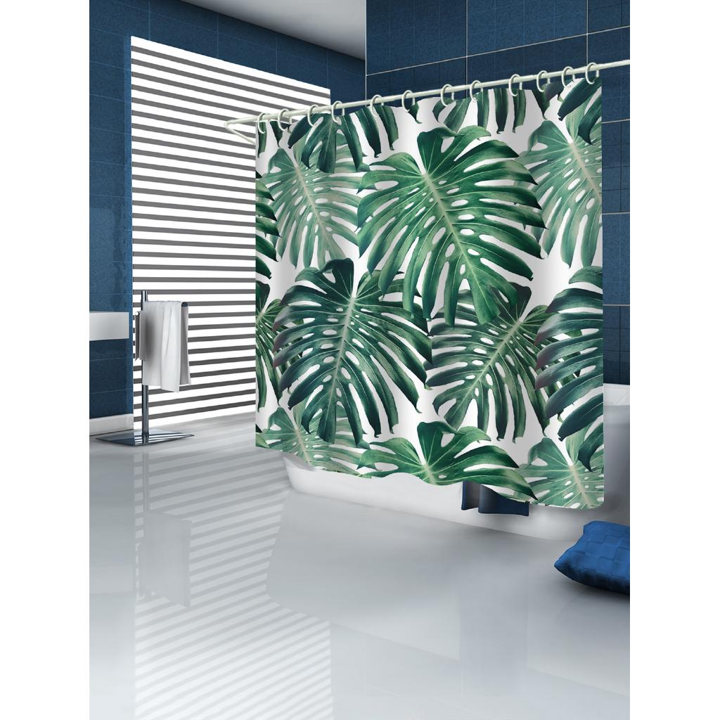 Green Leaves Printed Shower Curtain 180 180 Cm Waterproof And Mildew Proof Digital Printing Curtains With 12pcs Hooks