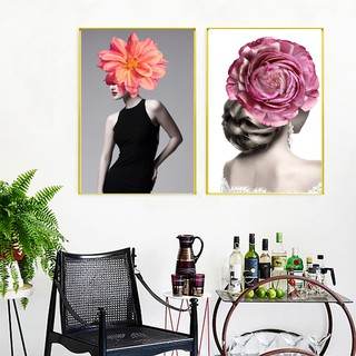 Nordic Poster Woman Bedroom Wall Picture Wall Art Canvas Beautiful Flower Art