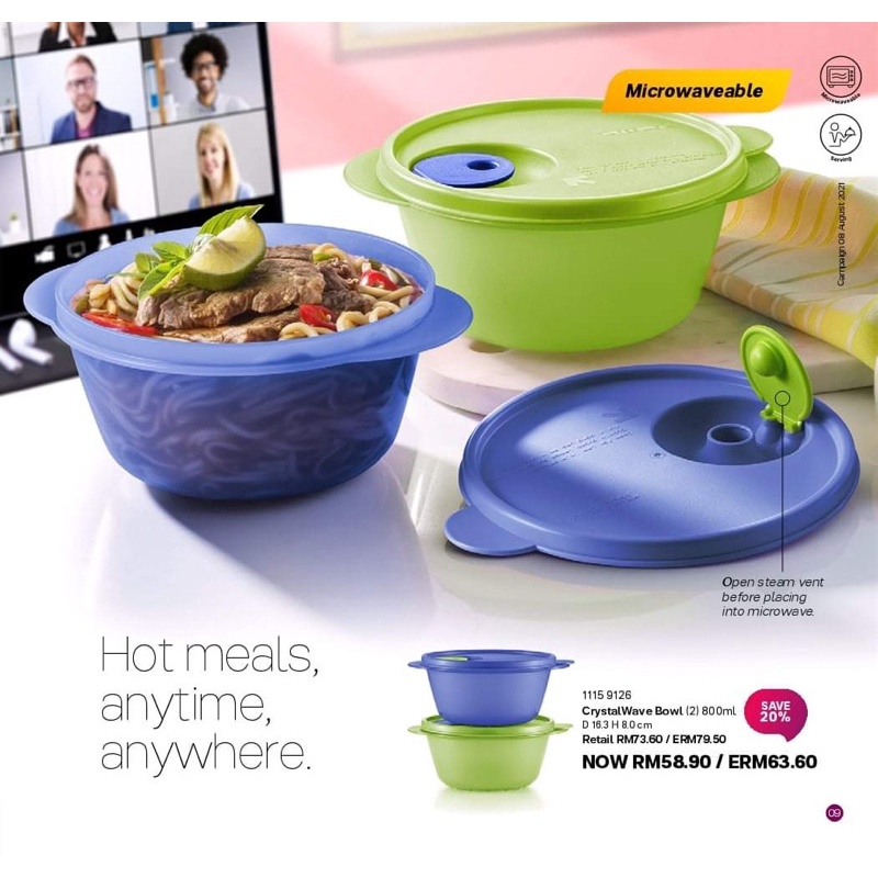 Tupperware Crystalwave Bowl 800ml 1pcs