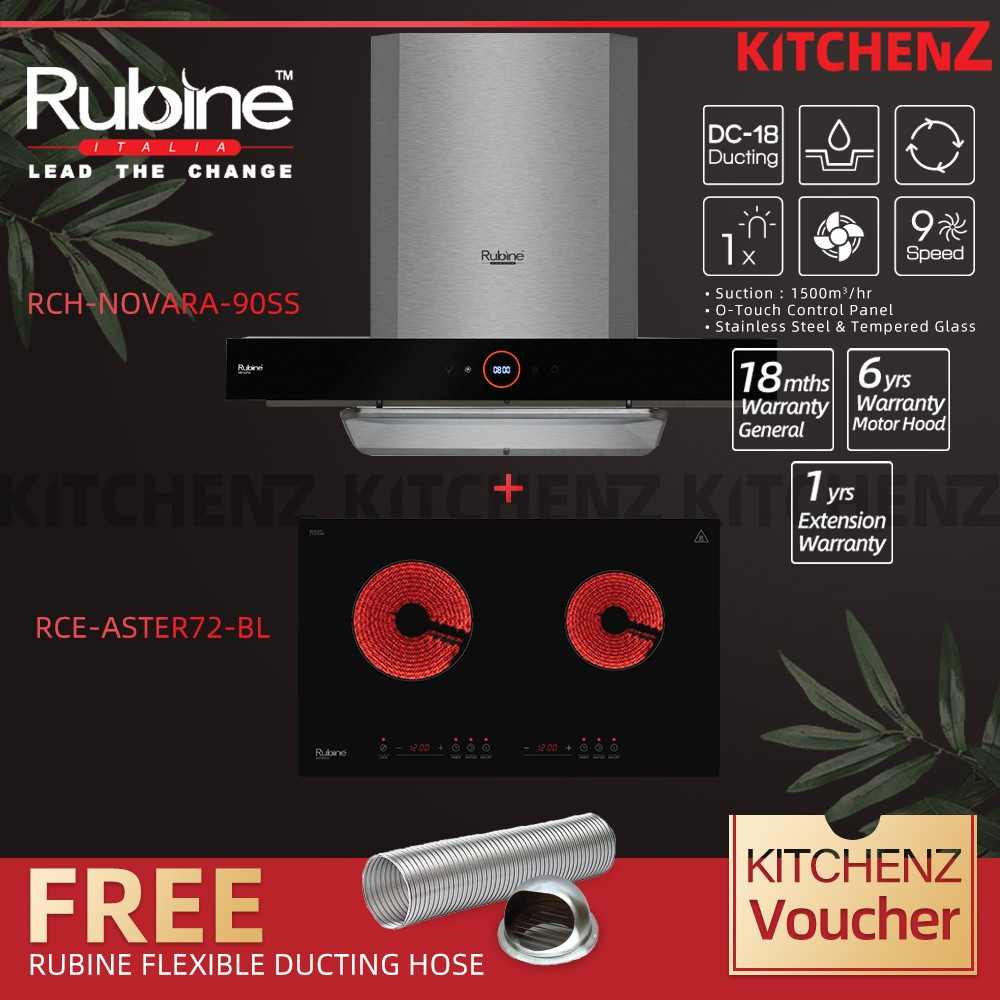 Rubine Chimney Hood Essential Series 1500 m³/hr with O-Touch Panel + 1800w Electric Ceramic Hob Free DC-17