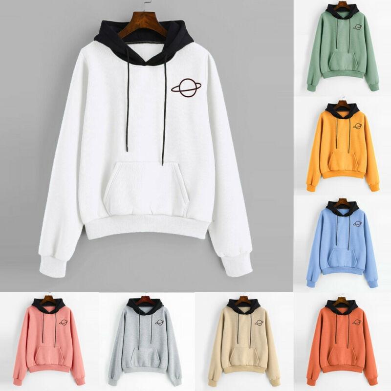 XTX Women Comfortable Contrast Color Candy Color Pullover Crop Sweatshirts