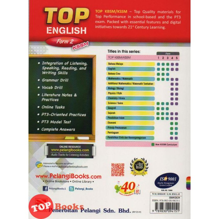 Pelangi-TOP English Form 2 KSSM   Shopee Malaysia