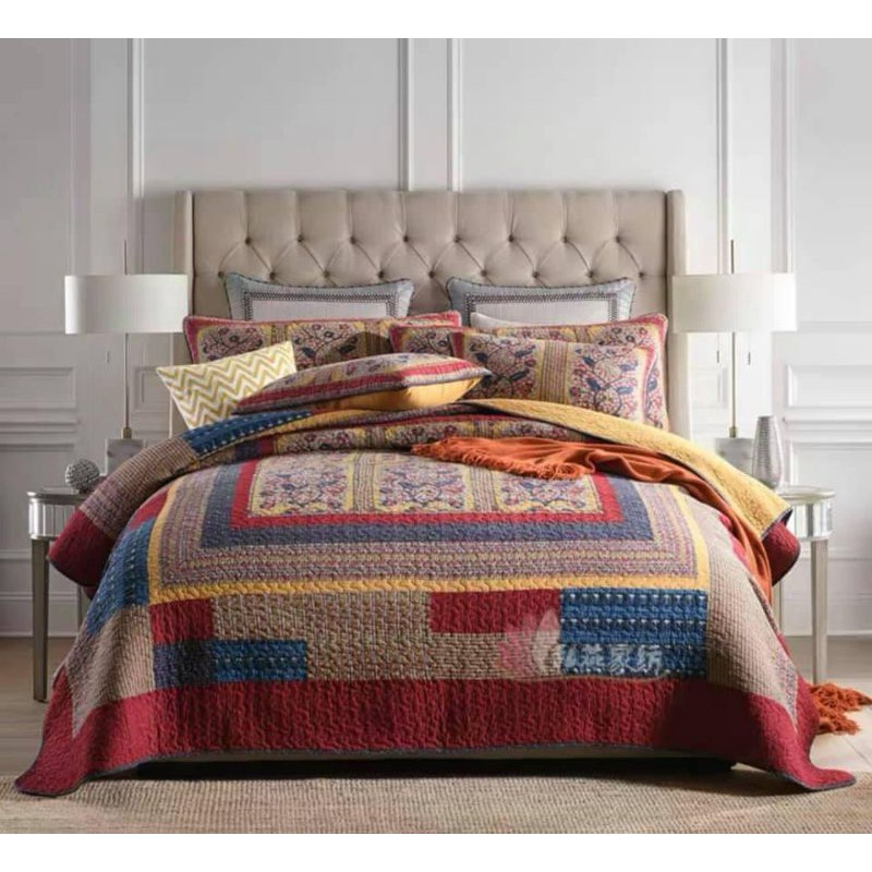 [PREMIUM] SYAQIST LIMITED EDITION REAL PATCHWORK SUPER QUEEN 3in1 . 100% Pure Cotton