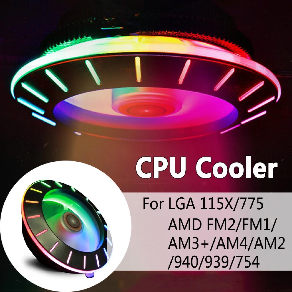 UFO CPU Cooler LED RGB Cooling Fan For inter 775 1156 1155 1151 1150 AMD  AM3 AM4