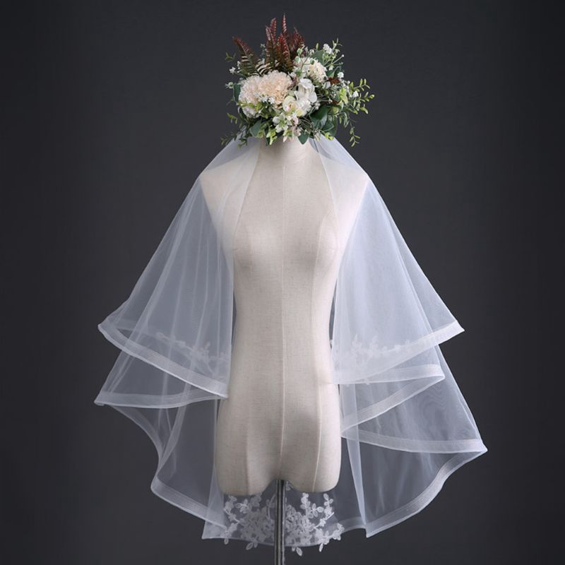 f29f5f0fc2d72 ❤ 2 Tier Double-Layer Tulle Fingertip Length Wedding Veil