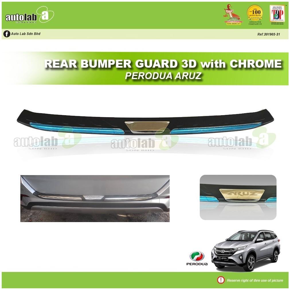 Rear Bumper Guard 3D with Chrome Perodua Aruz
