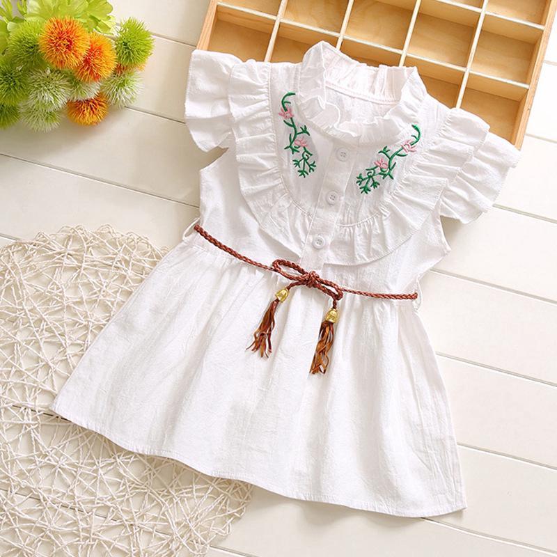 1de997b355acf 1-3Y Summer Casual Baby Girls Flower Embroidery Princess Dress Kids ...