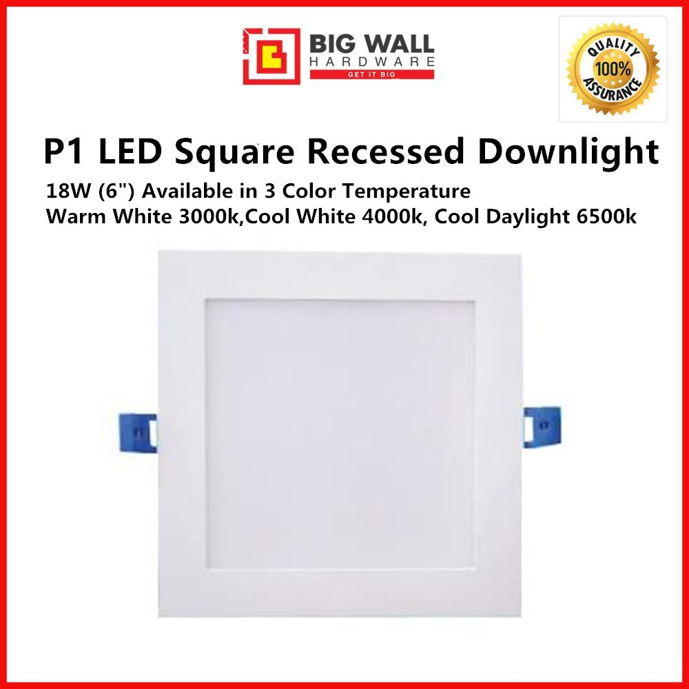 """Perfect One P1 LED Die-Casting Square Downlight - 12w (4"""")/18w (6"""") available in Warm White Cool White & Cool Day Light"""