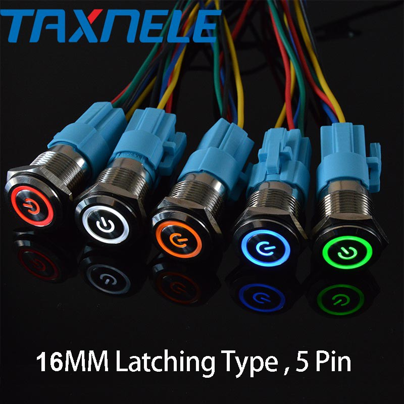 16mm Latching Waterproof Metal Push Button Switch With LED light 12V Socket Plug