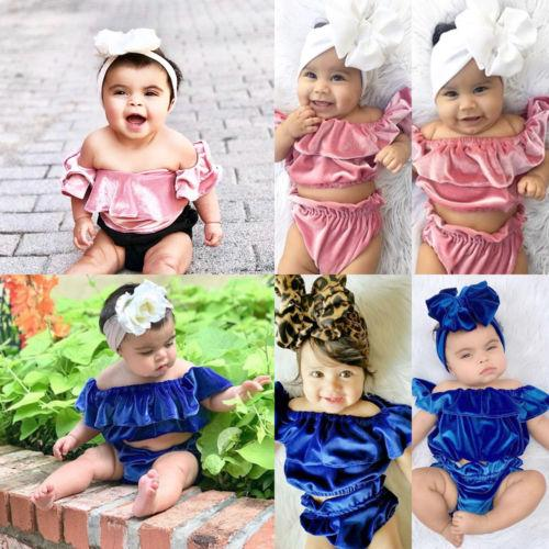 d448193305 ✦ZWQ-2018 Fashion Stock Toddler Baby Girl Off Shoulder Tops Shorts 2Pcs |  Shopee Malaysia