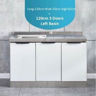 Stainless Steel Kitchen Cabinet With Tempered Glass Door 3 Doors 120cm 3 95ft Shopee Malaysia
