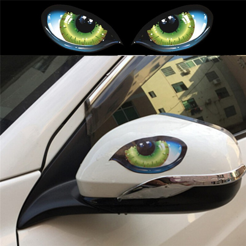 2x Cool 3D Evil Cat Eyes Rearview Mirror Car Sticker Window Decal Graphics