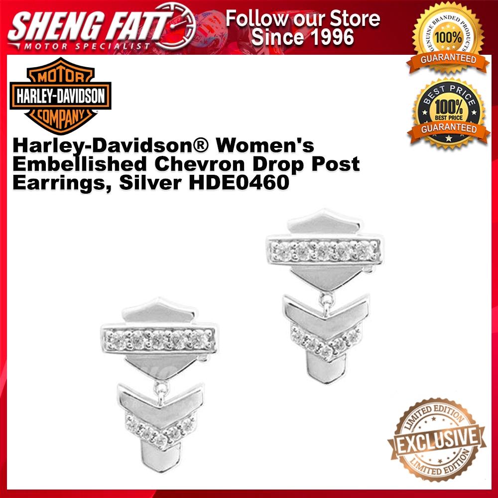 Harley-Davidson® Women's Embellished Chevron Drop Post Earrings, Silver HDE0460