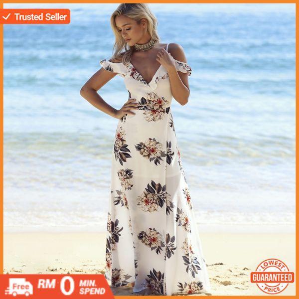 76349f29268cf Floral print ruffles long dress Women strap v neck split beach summer  Dresses Off the shoulder