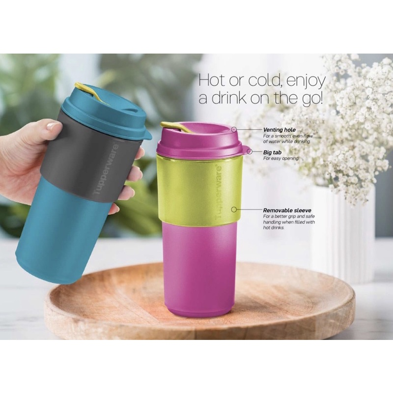 Tupperware Coffee To Go + Small Round Container Full Set (8pcs)