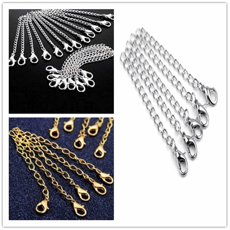 10 Packs of Gold//Silver Plated Necklace Extenders Jewelry Extension Chain 75 mm