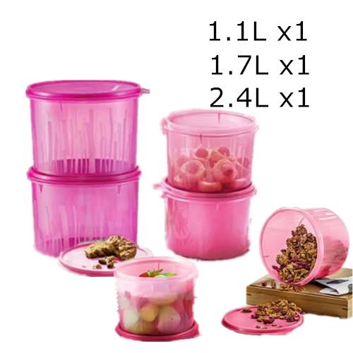 Tupperware Snack N Stack Set (3) 1.1L/1.7L/2.4L Pink/Purple