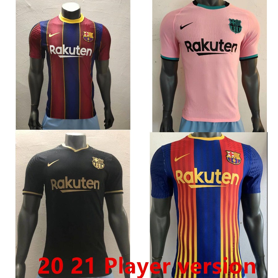 Top Quality 2020 2021 Barcelona Soccer Jerseys Messi Suarez Football Shirt Player Version Shopee Malaysia