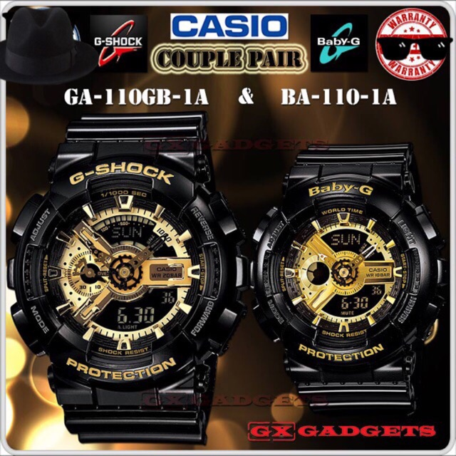 19cf39605241 Casio GA-110GB-1A   BA-110-1A Couple Watch G-Shock Baby-G Watches Black  Gold Jam