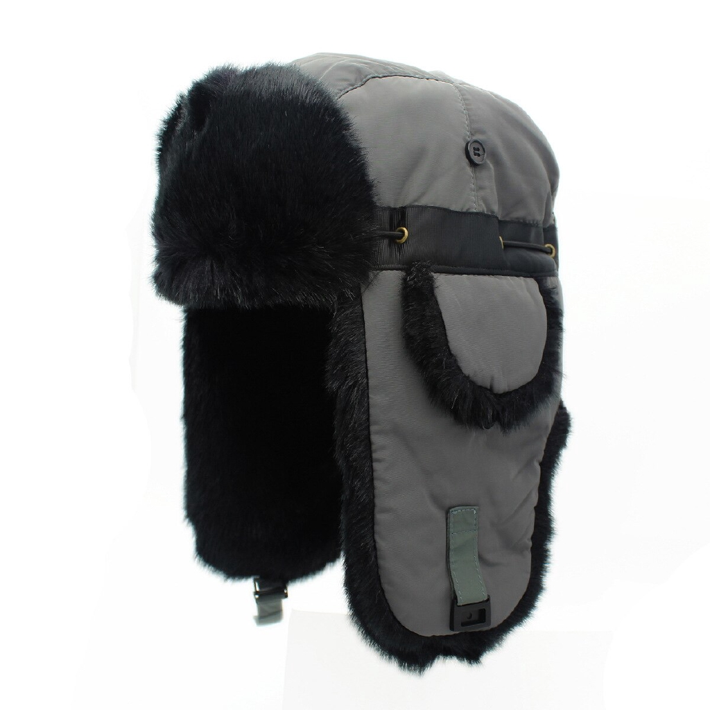 Men/'s Ladies Warm Winter Hat Ear Flaps Russian Ushanka Soviet soldier Fur BLACK