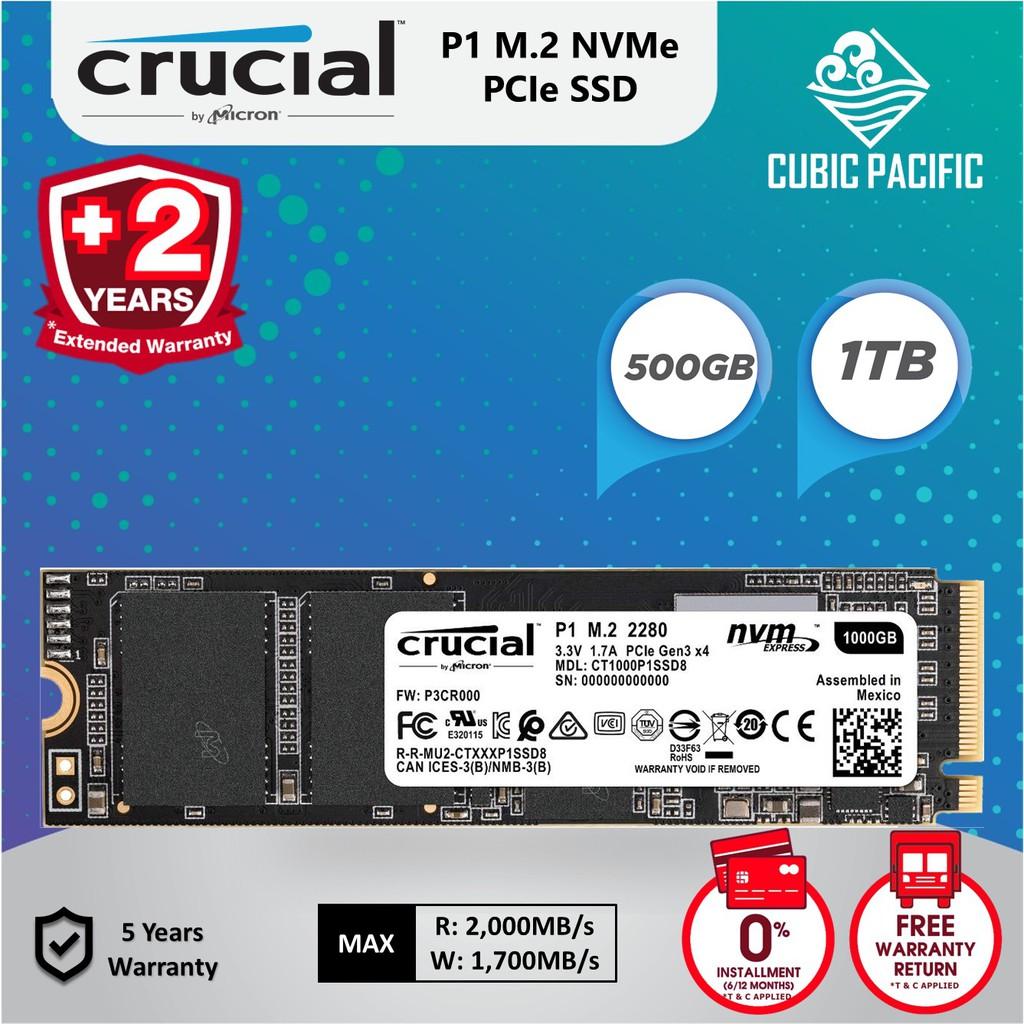 Crucial P1 NVMe PCIe M 2 SSD (500GB/1TB)