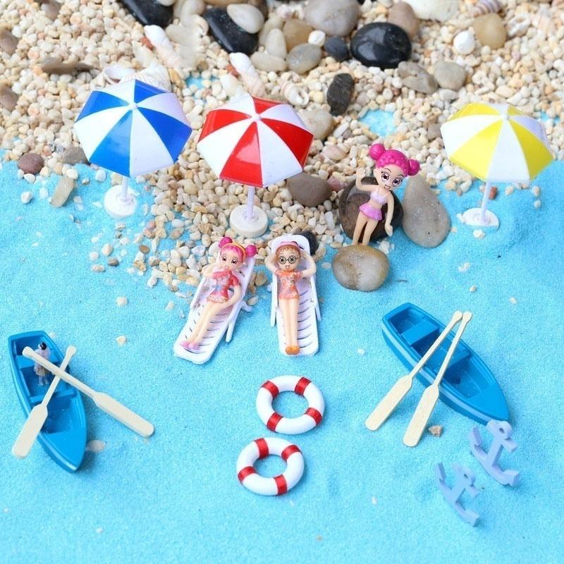 Miniature Beach Umbrella Sailing Bonsai Fairy Dollhouse Garden Ornament Decor