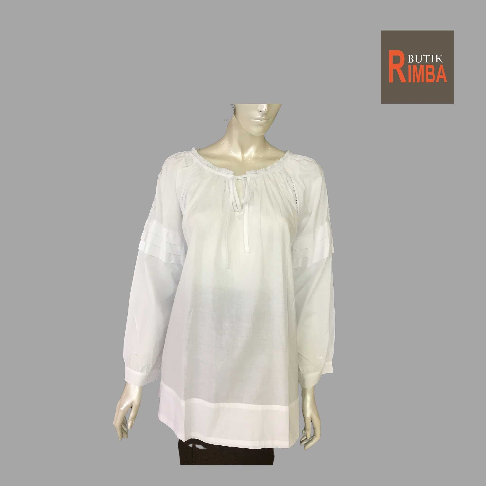 WOMEN CASUAL AND COMFORTABLE WHITE BLOUSE COTTON FREE SIZE PATTERN 14