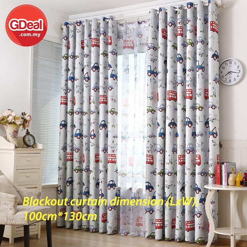 GDeal【Thick Curtains】1pcs Home Window Blackout Cartoon Short Design Curtain Heat Insulation Langsir 100cm x 130cm