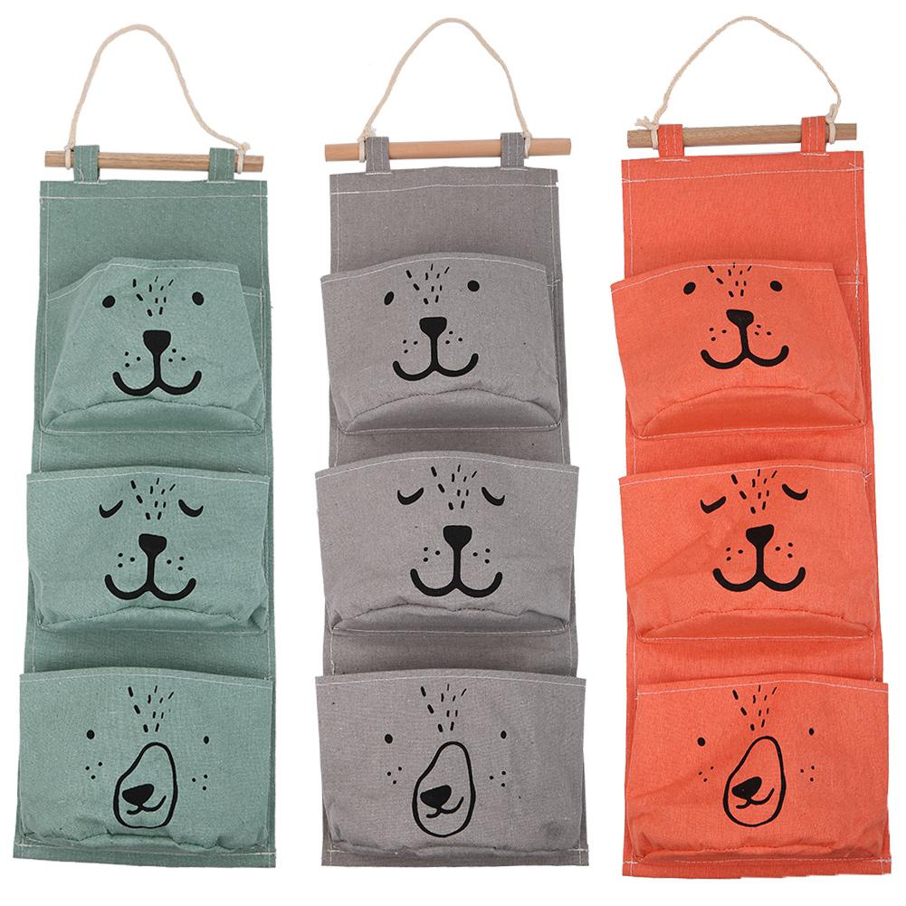 Merveilleux 3 Pocket Storage Hanging Bag Holder Wall Mounted Door Pouch ...