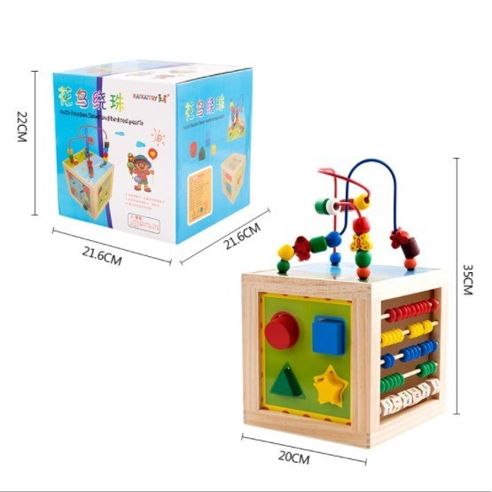 MALAYSIA: ALAT PERMAINAN KAYU KREATIF KANAK-KANAK/ Play Cube Activity Center Multifunctional Bead Maze Toddler Edu