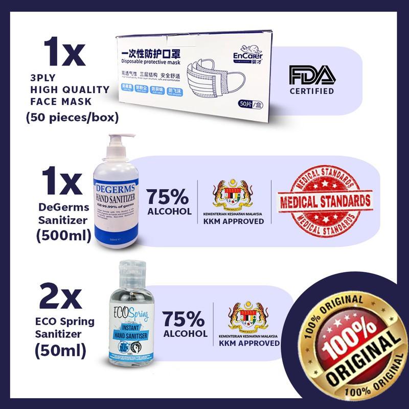 Degerms Hand Sanitizer 500ml & Encaier 50 pcs Cover for Face + Ecospring 50ml x2