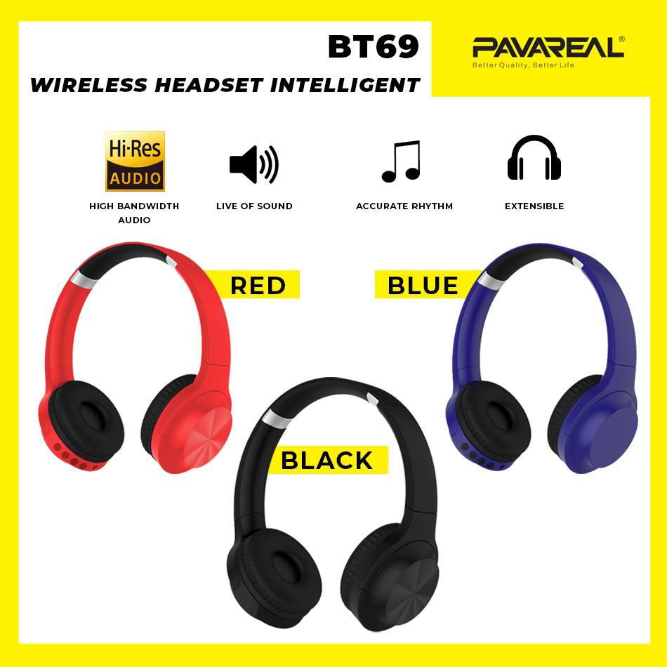 PAVAREAL PA-BT69 Over-Ear V5.0+EDR Bluetooth Hi-Fi Wireless Headset Noise Reduction Music Call Binaural HD Stereo HQ PU
