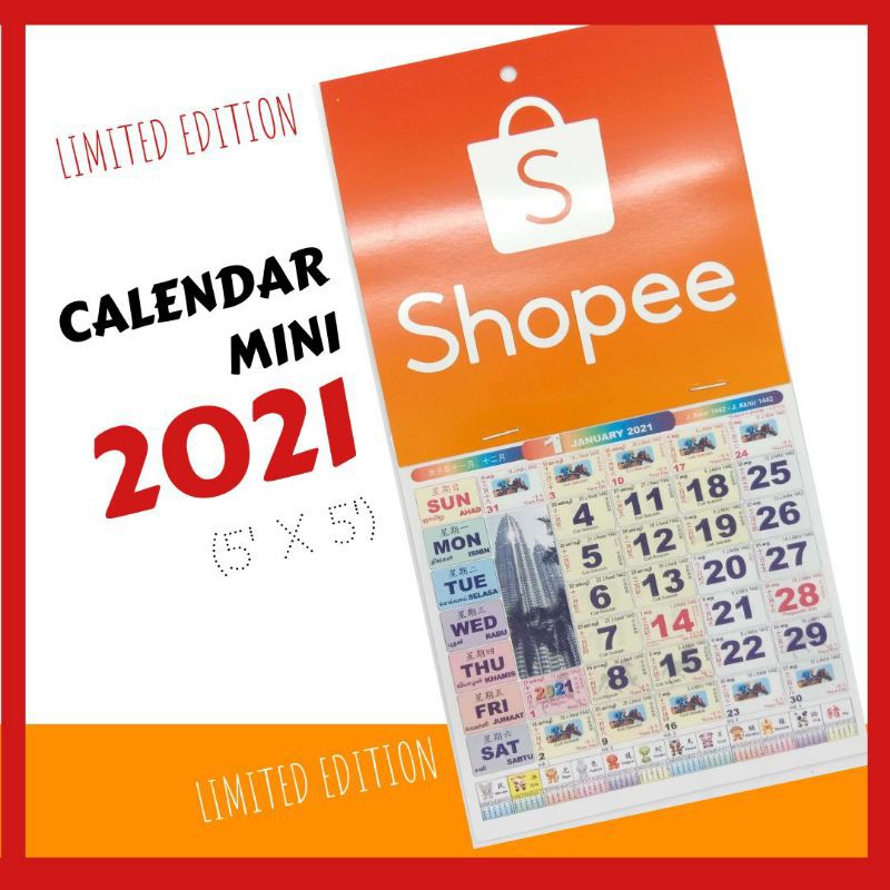 Calendar 2021 [Limited Edition] Mini 5' X 5' ( Kalendar Calender )