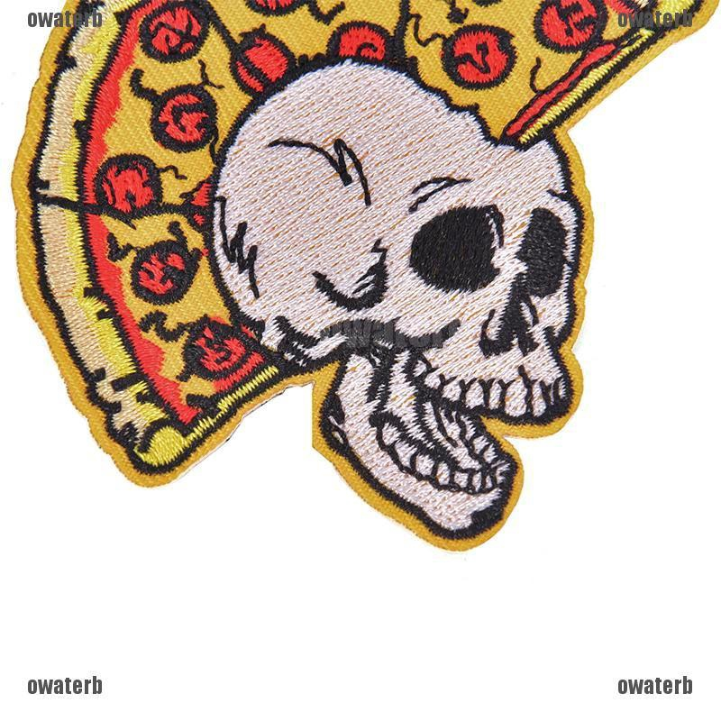 Pizza Skull Food Skeleton Embroidered Sew On Iron On Badge Patch Fabric Craft