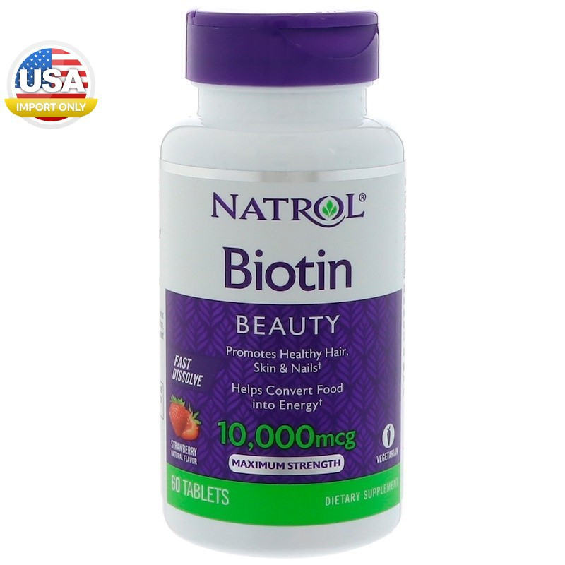 พร้อมส่ง_Natrol, Biotin, Strawberry Flavor, 10,000 mcg, 60 Ta