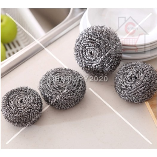 RIMEI Economic Stainless Steel Wire Ball Sponge Dish Strong Cleaning Kitchen Dish Washing 2 Pcs