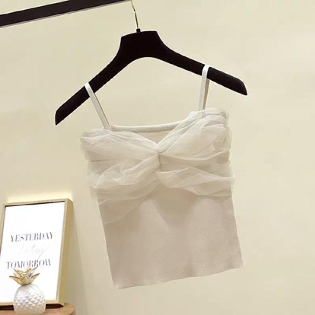 [Free Size]Summer sexy mesh knitted top 夏季新款性感网纱拼接冰丝针织吊带背心女修身无袖短款上衣