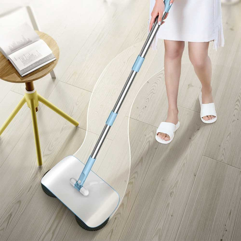 Household Hand Push Sweeper Mop Dust Collector Cleaning Tool (Light Blue)