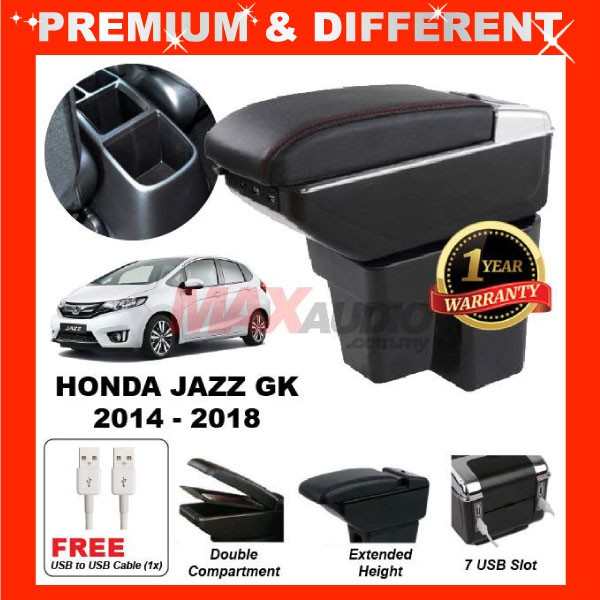 [FREE GIFT Gift] HONDA JAZZ GK 2014 - 2020 COMFORT ADJUSTABLE ARMREST 7 USB PORT