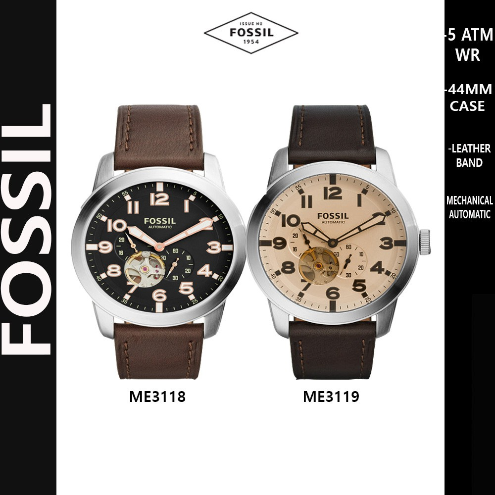 Fossil Analog 3 Hands Leather Band Men Watch Pilot 54 Collection Fs5182 Set