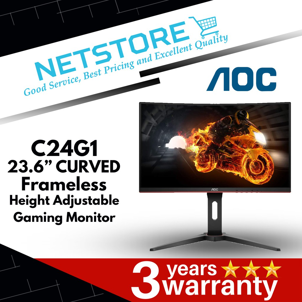 AOC 23 6' C24G1 CURVED FRAMELESS GAMING MONITOR | 144HZ | 1MS