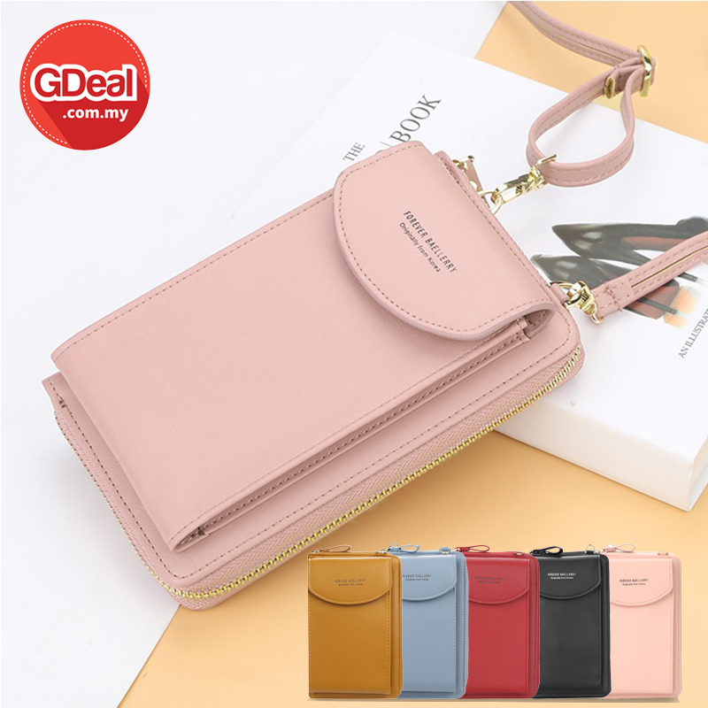 GDeal Korean Style Women Long Purse And Crossbody Sling Bag With Handphone Pocket Beg Dompet