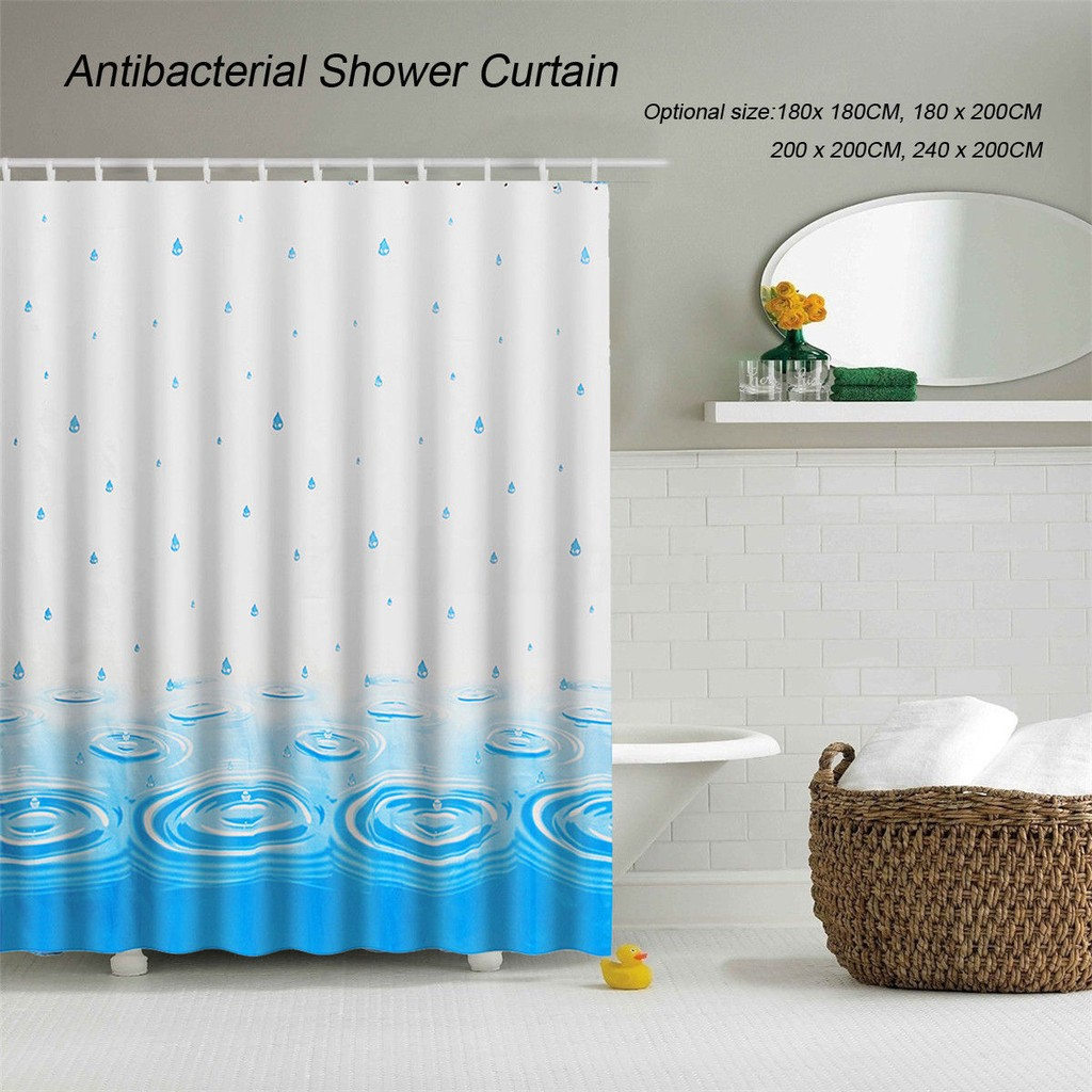Bath Fabric Shower Curtain Extra Wide With Hooks Ring