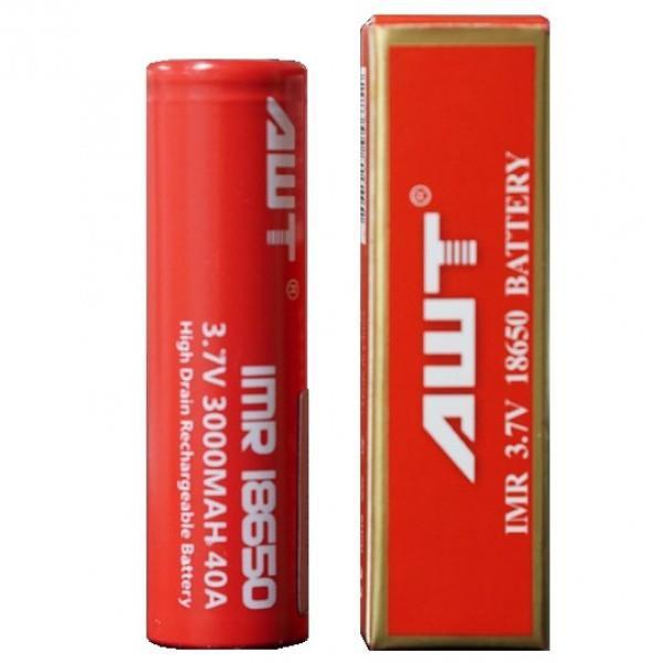 Awt Red 3000mAh Battery High Firing Vape 3.7V 18650 Size 40A