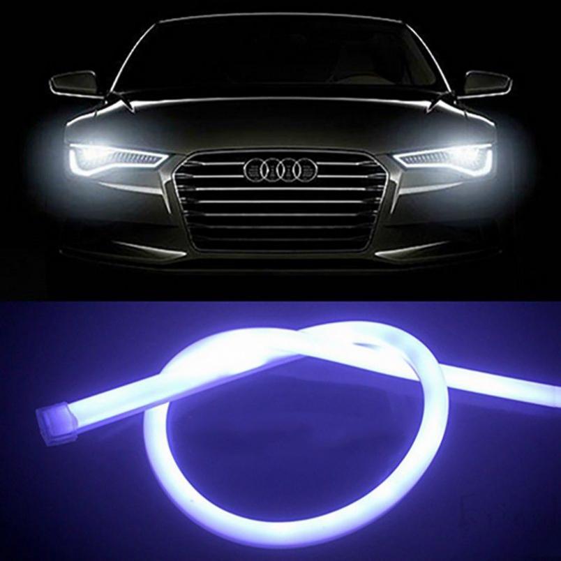 2x 30//60CM Car Flexible Tube Headlight White LED Strip DRL Daytime Run Lights