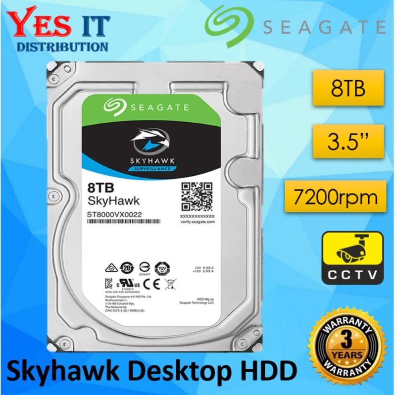 "Seagate SKYHAWK Surveillance 8TB 3.5"" Internal Hard Disk 64MB CCTV (ST8000VX0022)"