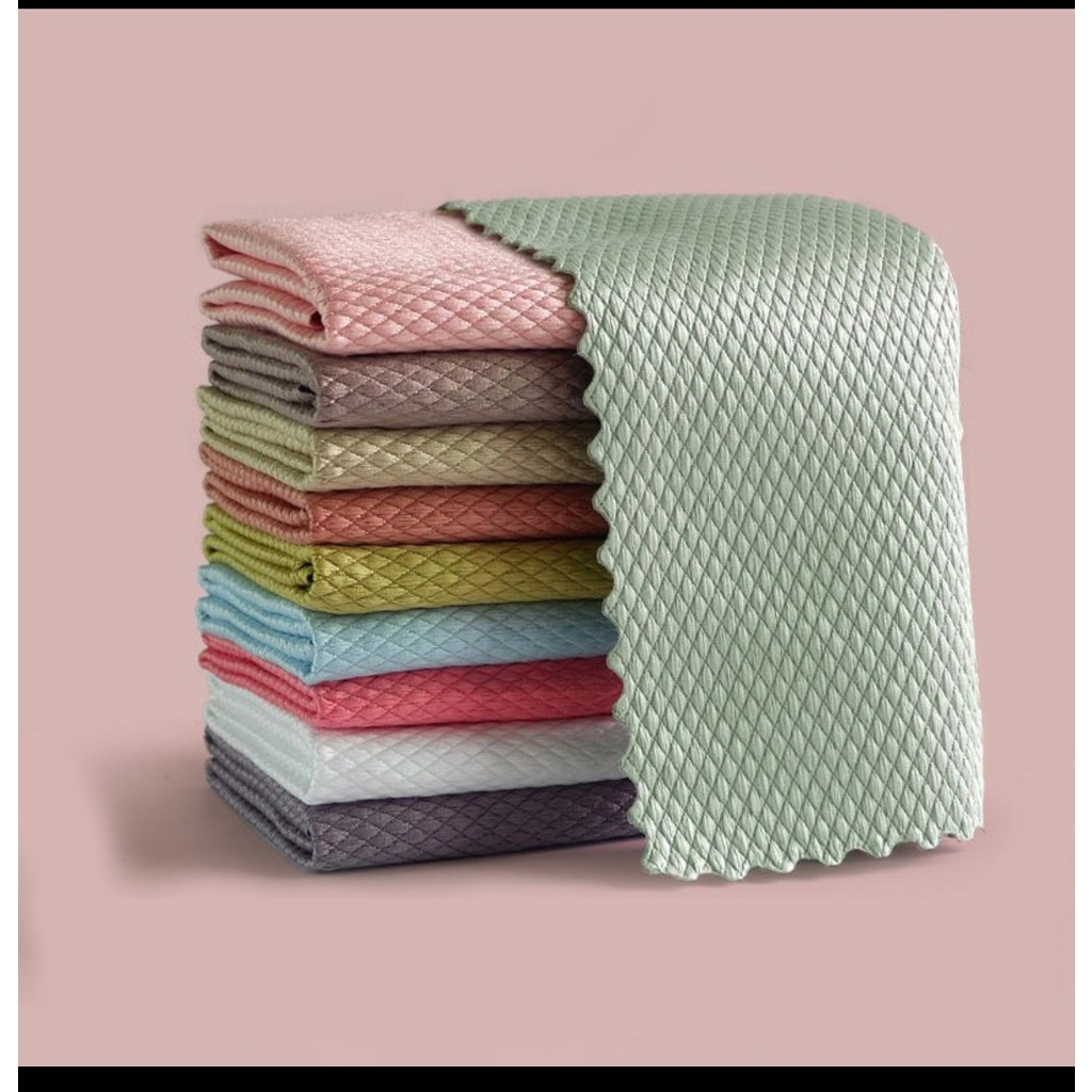 Fish scale rag Wipe Glass Rags Kitchen Cleaning Towel Absorbent Waterless Rags Nordic Wind Rags Thick Absorbent Wipe
