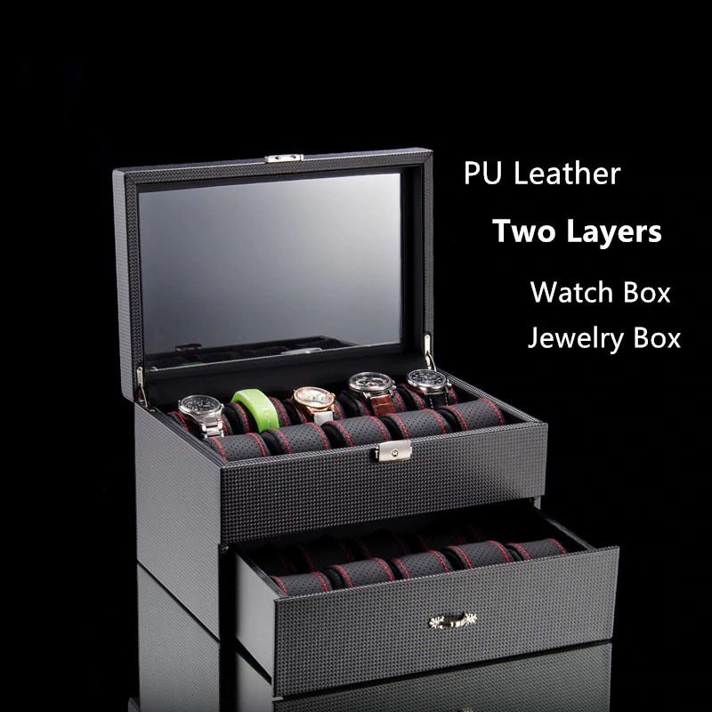 2 Layers Watch Storage Box Material Watch Display Box Fashion Jewelry Gift Case